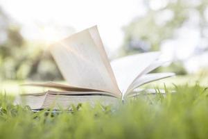 libro aperto sull'erba verde