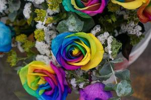 rose color arcobaleno in bouquet