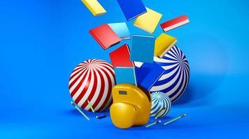 Rendering 3D di materiale scolastico foto