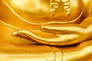 goccia di rugiada sulla mano del buddha