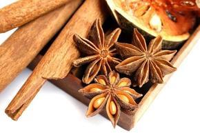 bastoncini di cannella, anice stellato e mele cotogne essiccate