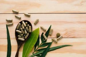 vista dall'alto del farmaco a base di erbe e bottiglia su uno sfondo di legno