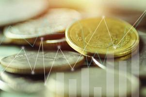 monete tailandesi con sovrapposizione di grafici foto