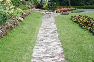percorso di cemento in un giardino foto