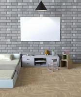 Rendering 3D di mock up poster in una camera da letto foto