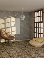 Rendering 3D di poster in bianco nel soggiorno moderno foto