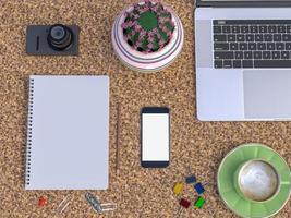 Rendering 3D mock up area di lavoro sul tavolo foto
