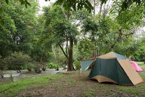 tende da campeggio vicino al ruscello