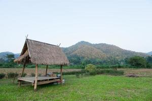 capanna sul campo nelle zone rurali della Thailandia foto