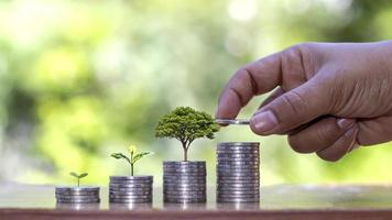 idea di crescita del business denaro di successo, un albero che cresce su un mucchio di monete d'argento e una mano che tiene le monete foto
