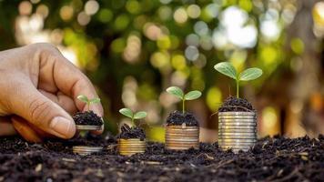 mani umane che tengono soldi e alberi che crescono sul concetto di crescita finanziaria di investimento di denaro foto
