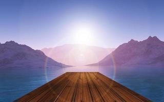 Pontile di legno 3d che guarda ad un paesaggio di tramonto foto