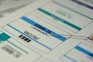 un'etichetta del vaccino contro il coronavirus per covid-19 foto