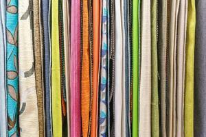 campioni di texture tessuto multicolore come sfondo foto