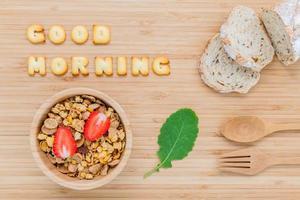 buongiorno concetto con cereali foto