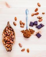 concetto di cioccolato su legno foto