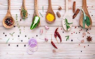 varie spezie ed erbe aromatiche in cucchiai di legno su uno sfondo di legno chiaro