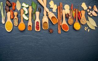 vista dall'alto di spezie ed erbe aromatiche in cucchiai di legno foto