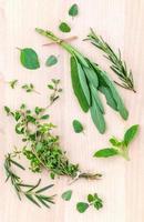 erbe verdi su legno chiaro