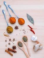 vista dall'alto di cucinare spezie ed erbe aromatiche foto