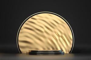 mockup di podio palco astratto nero e oro