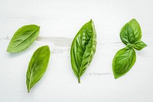 vista dall'alto di foglie di basilico foto