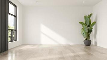 interno di un soggiorno moderno vuoto nella rappresentazione 3d foto