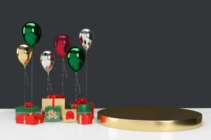 Scatole regalo 3D con palloncini sullo sfondo foto