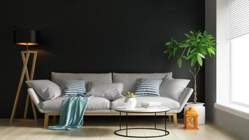 interno di un soggiorno moderno in rendering 3d foto