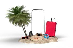 mockup di viaggio 3d di vacanze estive foto