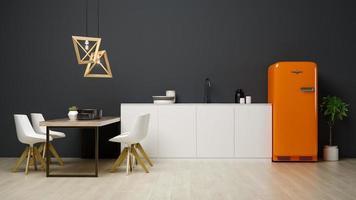 interno di un moderno soggiorno e cucina in rendering 3d foto