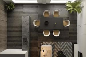 vista dall'alto di un interno minimalista di un soggiorno moderno in rendering 3d foto