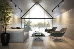 un soggiorno interno di una casa forestale nell'illustrazione 3d foto