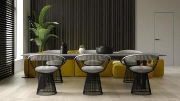 interni minimalisti di un soggiorno moderno in rendering 3d foto