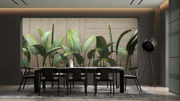interni minimalisti di un soggiorno moderno nell'illustrazione 3d foto