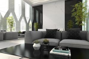 interno di un hotel e spa reception nell'illustrazione 3d foto