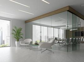 interno di una reception e una sala riunioni nell'illustrazione 3d foto