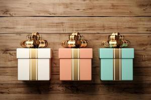 confezione regalo su sfondo di legno vecchio nel rendering 3d