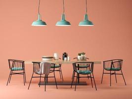 camera di design d'interni con un concetto di tavolo e sedie nell'illustrazione 3d foto