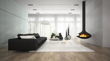 interno di una camera moderna con camino in rendering 3d foto