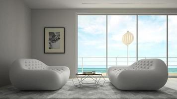 camera dal design moderno interno con vista sul mare in rendering 3d foto