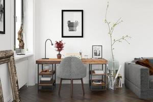 interno di un moderno soggiorno con divano e mobili in rendering 3d