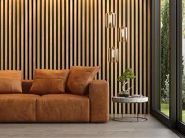 interno di una camera moderna con un divano in rendering 3d