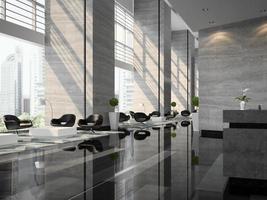 interno di un'area della reception dell'hotel nell'illustrazione 3d foto