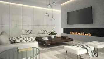 interno di un soggiorno con un elegante caminetto in rendering 3d foto