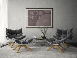 interior design moderno di una stanza in 3d'illustrazione foto