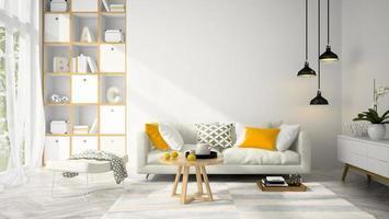 interno di una camera dal design moderno nell'illustrazione 3d foto