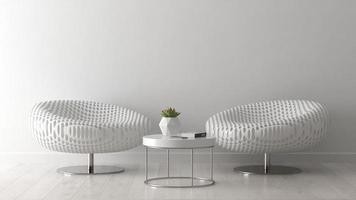 interno di una camera moderna con una sedia in rendering 3d foto