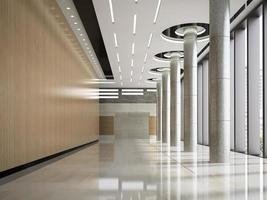 interno della reception della hall di un hotel nell'illustrazione 3d foto