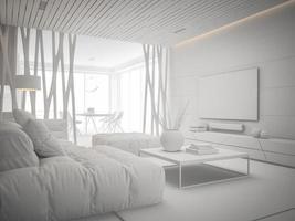 interior design di una camera moderna in 3d'illustrazione foto